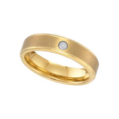 Yellow-tone Tungsten Carbide Mens Round Diamond Band Ring .01 Cttw Size 9