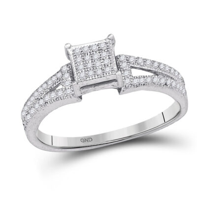 10kt White Gold Elevated Diamond Square Cluster Bridal Wedding Engagement Ring 1/6 Cttw