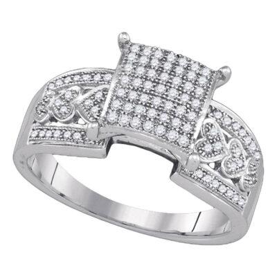 10kt White Gold Diamond Square Cluster Heart Bridal Wedding Engagement Ring 1/3 Cttw