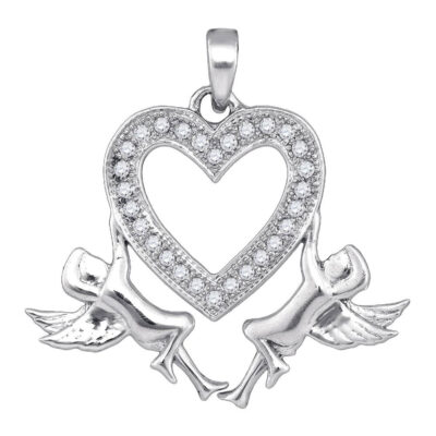 10kt White Gold Womens Round Diamond Heart Angel Cherub Pendant 1/10 Cttw