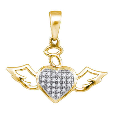 10kt Yellow Gold Womens Round Diamond Winged Angel Heart Pendant 1/10 Cttw