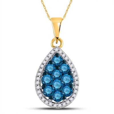 10kt Yellow Gold Womens Round Blue Color Enhanced Diamond Teardrop Pendant 3/4 Cttw