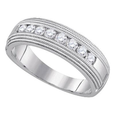 10kt White Gold Mens Round Diamond Milgrain Wedding Anniversary Band Ring 1/2 Cttw