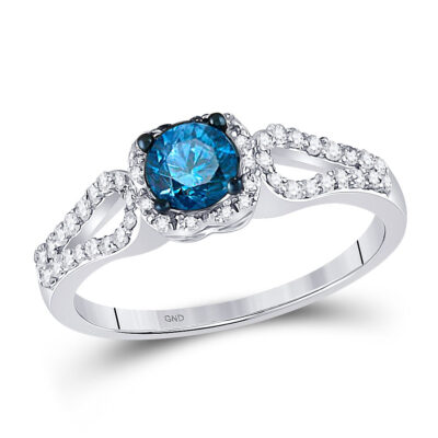 10kt White Gold Round Blue Color Enhanced Diamond Solitaire Bridal Wedding Ring 3/4 Cttw