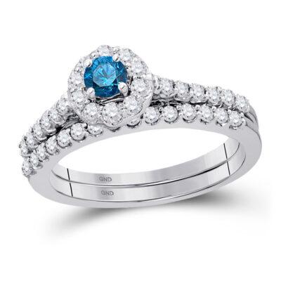 10kt White Gold Womens Round Blue Color Enhanced Diamond Bridal Wedding Ring Set 7/8 Cttw