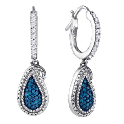 10kt White Gold Womens Round Blue Color Enhanced Diamond Dangle Earrings 1/2 Cttw