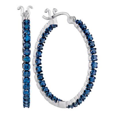 10kt White Gold Womens Round Blue Color Enhanced Diamond Hoop Earrings 1-5/8 Cttw