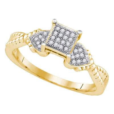 Yellow-tone Sterling Silver Womens Round Diamond Heart Ring 1/10 Cttw