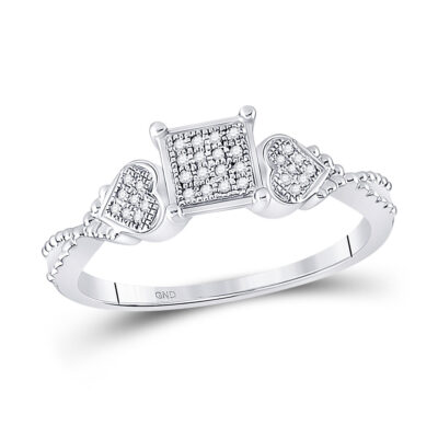 Sterling Silver Womens Round Diamond Heart Square Ring 1/10 Cttw