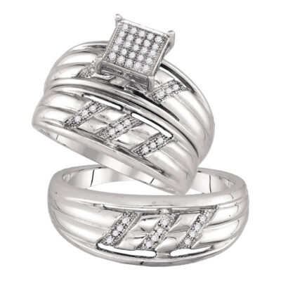 Sterling Silver His Hers Round Diamond Square Matching Wedding Set 1/6 Cttw