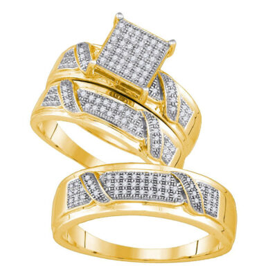 Yellow-tone Sterling Silver His Hers Diamond Square Matching Wedding Set 1/3 Cttw