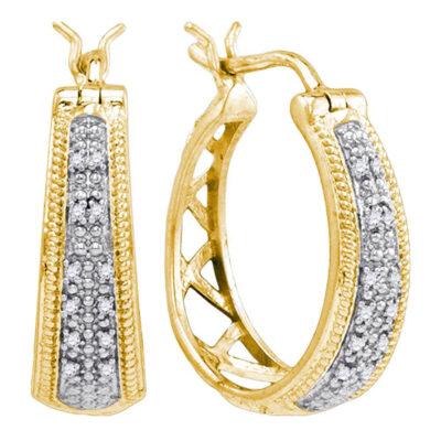 Yellow-tone Sterling Silver Womens Round Diamond Hoop Earrings 1/10 Cttw