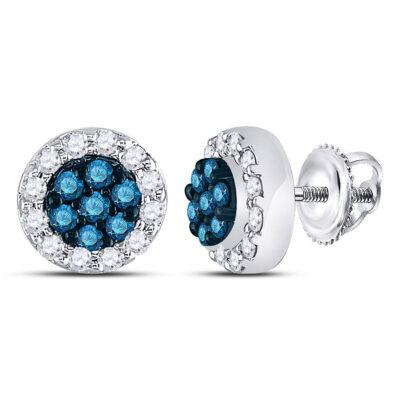 10kt White Gold Womens Round Blue Color Enhanced Diamond Flower Cluster Earrings 1/2 Cttw