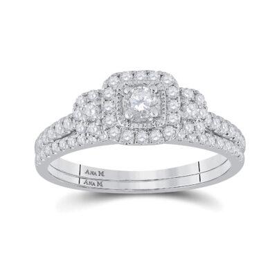 14kt White Gold Round Diamond Bridal Wedding Ring Band Set 1/2 Cttw