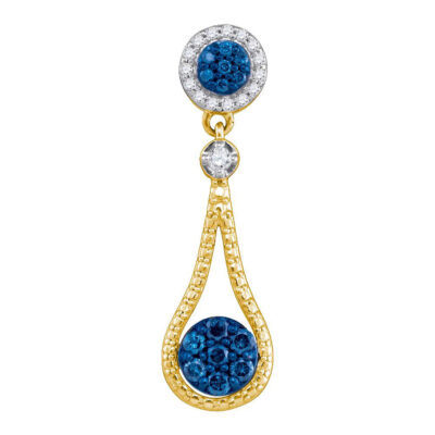 10kt Yellow Gold Womens Round Blue Color Enhanced Diamond Cluster Pendant 1/3 Cttw