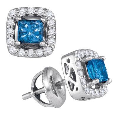 10kt White Gold Womens Princess Blue Color Enhanced Diamond Stud Earrings 3/4 Cttw