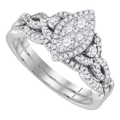14k White Gold Round Diamond Marquise-shape Cluster Wedding Bridal Ring Set 1/2 Cttw