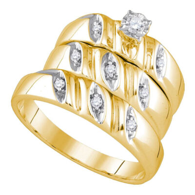 Yellow-Tone Sterling Silver His Hers Round Diamond Matching Wedding Set 1/5 Cttw