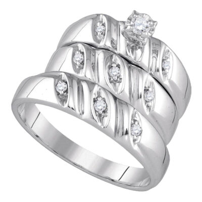 Sterling Silver His Hers Round Diamond Solitaire Matching Wedding Set 1/5 Cttw