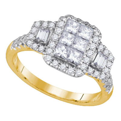 14kt Yellow Gold Princess Diamond Rectangle Cluster Bridal Ring 1 Cttw