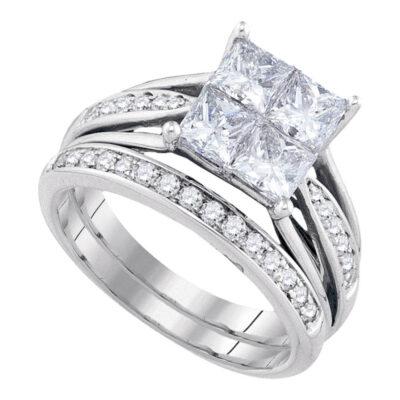14k Yellow Gold Princess Invisible-set Diamond Wedding Bridal Ring Set 2 Cttw