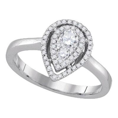 14kt White Gold Womens Round Diamond Teardrop Frame Cluster Ring 3/8 Cttw