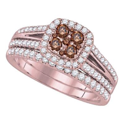 14kt Yellow Gold Womens Round Brown Diamond Bridal Wedding Ring Band Set 1 Cttw