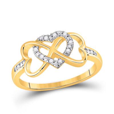 10kt Yellow Gold Womens Round Diamond Infinity Heart Ring 1/10 Cttw