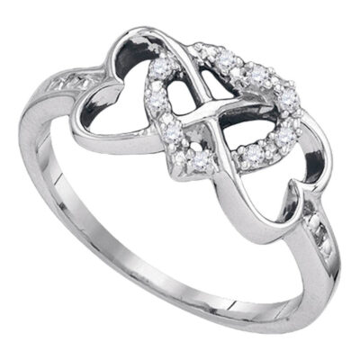 Sterling Silver Womens Round Diamond Triple Heart Ring 1/10 Cttw