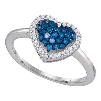 10k White Gold Womens Blue Color Enhanced Diamond Heart Cluster Anniversary Ring 1/3 Cttw