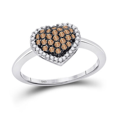 10k White Gold Brown Round Diamond Cluster Womens Heart Ring 1/3 Cttw