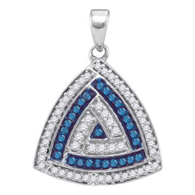 10kt White Gold Womens Round Blue Color Enhanced Diamond Triangle Pendant 1/4 Cttw