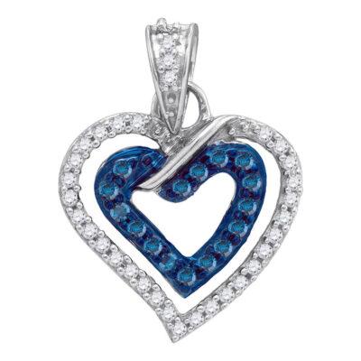 10kt White Gold Womens Round Blue Color Enhanced Diamond Heart Pendant 1/4 Cttw
