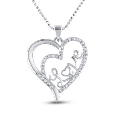Sterling Silver Womens Round Diamond Love Heart Pendant 1/10 Cttw