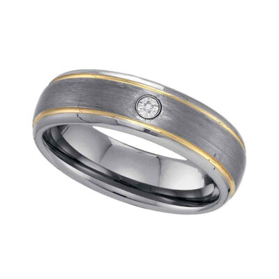 Two-tone Tungsten Carbide Mens Round Diamond Band Ring .01 Cttw Size 8.5