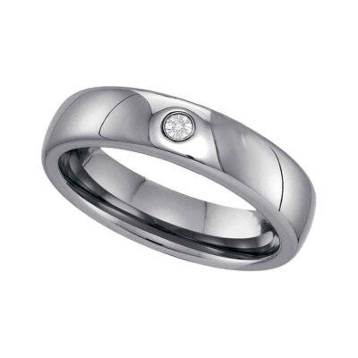 Tungsten Carbide Mens Round Diamond Band Ring .01 Cttw Size 10.5
