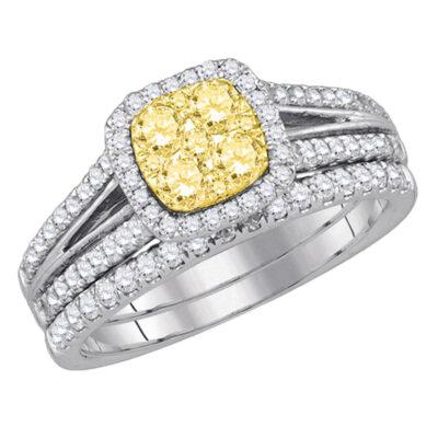 14kt White Gold Womens Round Yellow Diamond Bridal Wedding Ring Band Set 1 Cttw