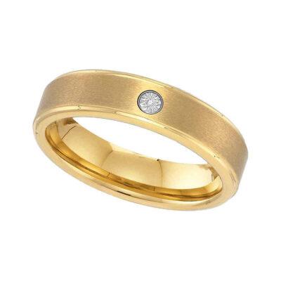 Yellow-tone Tungsten Carbide Mens Round Diamond Band Ring .01 Cttw Size 14