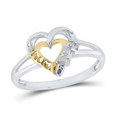 Sterling Silver Womens Round Diamond Heart Mom Mother Ring .03 Cttw