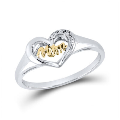 Sterling Silver Womens Round Diamond Mom Heart Ring .02 Cttw