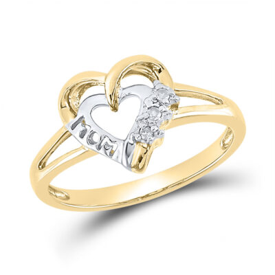 Yellow-tone Sterling Silver Womens Round Diamond Mom Heart Ring .03 Cttw