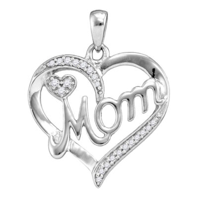 Sterling Silver Womens Round Diamond Mom Mother Heart Pendant 1/10 Cttw