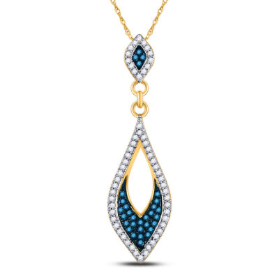 10kt Yellow Gold Womens Round Blue Color Enhanced Diamond Oval Pendant 1/5 Cttw