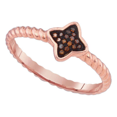 10k Pink Rose Gold Red Color Enhanced Diamond Cluster Womens Small Ring 1/20 Cttw