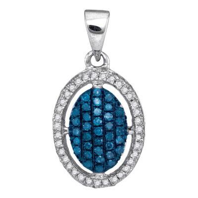 10kt White Gold Womens Round Blue Color Enhanced Diamond Oval Frame Cluster Pendant 1/3 Cttw