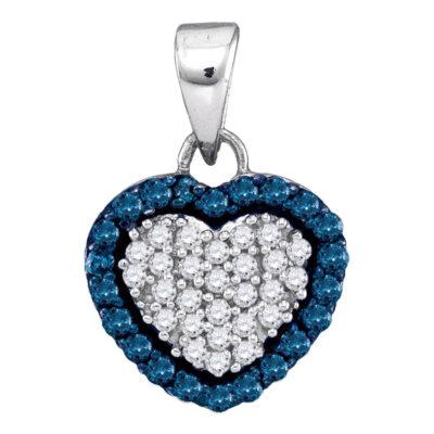 10kt White Gold Womens Round Blue Color Enhanced Diamond Heart Pendant 1/3 Cttw