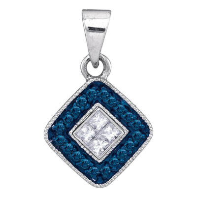10kt White Gold Womens Round Blue Color Enhanced Diamond Diagonal Square Pendant 1/5 Cttw