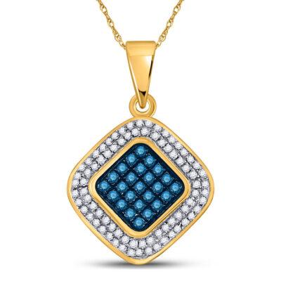 10kt Yellow Gold Womens Round Blue Color Enhanced Diamond Square Pendant 1/4 Cttw