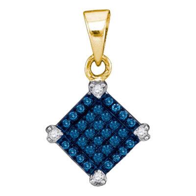 10kt Yellow Gold Womens Round Blue Color Enhanced Diamond Square Pendant 1/6 Cttw