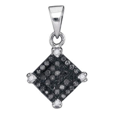 10kt White Gold Womens Round Black Color Enhanced Diamond Diagonal Square Pendant 1/6 Cttw